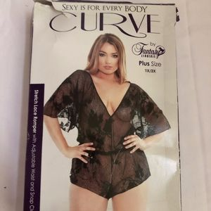 Curve V-neck Stretch Lace Romper Black 1x/2x NIP